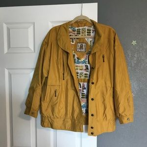Mustard color oversized 80's style jacket